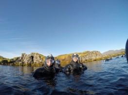 Sydney Bittinger and Lauren Taylor snorkeling in the Silfra Fissure in Thingvellir National Park.