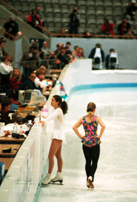 Nancy Kerrigan, left, and Tanya Harding ignore each other at the 1994 Winter Olympics in Lillehammer, Norway, in their first encounter after the attack on Kerrigan. (Photo by Michael T. Martinez)