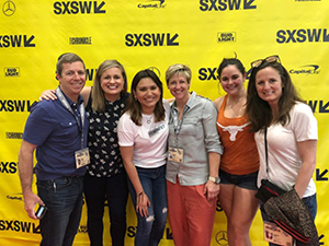 Center for Sport, Peace, and Society Assistant Director Ashleigh Huffman (center, left) and Director Sarah Hillyer (center, right) at South by Southwest with Global Sports Mentoring Program alumna Carla Bustamante, San Antonio Spurs mentor Laura Dixon, and US State Department Division Chief Matt McMahon.