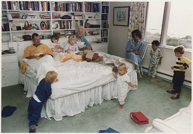 George H. W. and Barbara Bush with family at their summer home in Kennebunkport, Maine. The photo was collected in Michael Martinez's research on presidential photographers. Photograph by David Valdez.
