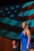 Vocalist Meghan Mayes sings the National Anthem as graduates of the University of Tennessee's College of Agricultural Sciences and Natural Resources participate in their commencement at Thompson-Boling Arena on Friday, May 11, 2018...Photo by Erik Campos