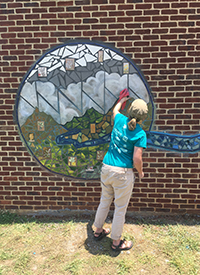 One of the three sections of the mosaic mural representing Beaver Creek at Karns Senior Center.