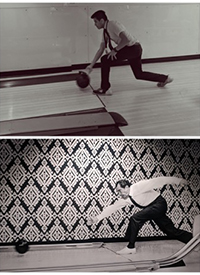 Narvaez recreates a famous photograph of Nixon at the Truman Bowling Alley in the White House. Photo taken by M. Chwedczuk.