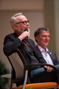 MythBusters co-host Adam Savage speaks to students in Alumni Memorial Building as part of the Mossman Distinguished Lecture series on September 21, 2018. Image by Steven Bridges - http://stevenbridges.com