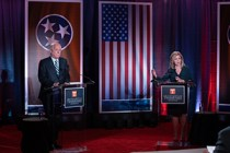 U.S. Senate candidates Marsha Blackburn and Phil Bredesen debate in the Toyota Auditorium at the Howard H, Baker Center for Public Policy at the University of Tennessee, Knoxville on Wednesday, Oct. 10, 2018. (Adam Brimer / University of Tennessee)