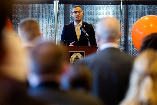 Senior Mustafa Ali-Smith, president of the UT Knoxville chapter of National Association for the Advancement of Colored People, speaks during the Martin Luther King Jr. celebration at the Frieson Black Cultural Center on January 22, 2019. Photo by Steven Bridges