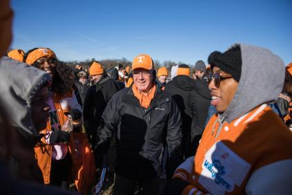 Interim Chancellor Wayne Davis visits with UT students before the annual Martin Luther King Jr. Day parade on January 18, 2018. Photo by Steven Bridges