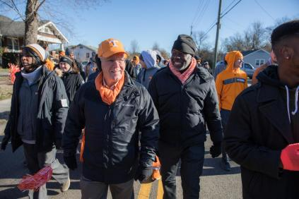 Interim Chancellor Wayne Davis and Tyvi Small, Interim Vice Chancellor for Diversity and Engagement, joined the Knoxville community to walk in the annual Martin Luther King Jr. Day parade with other UT students, faculty, and staff on January 18, 2018. Photo by Steven Bridges
