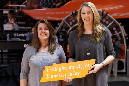 Stephanie Bohon, left, is honored during the Lady Vols game against the Florida Gators on January 31 at Thompson-Boling Arena.