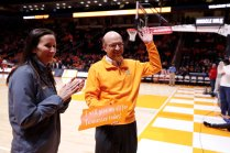 Greg Stein, Woolf, McClane, Bright, Allen and Carpenter Distinguished Professor of Law, is recognized during a game on February 19.