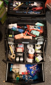 """Gladden's rolling storage case—""""Max""""— is stuffed with emergency supplies."""