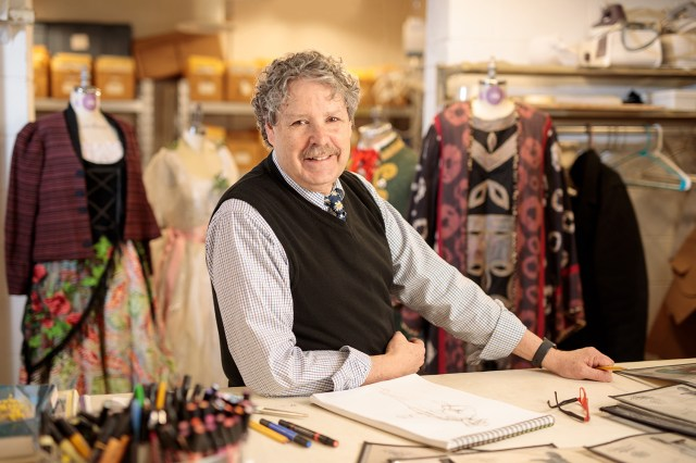 Bill Black, associate department head of the Department of Theatre and professor of costume design and technology, poses for a portrait in the Clarence Brown Theatre workshop. Photo by Steven Bridges