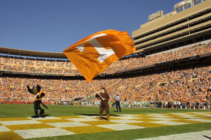 The Volunteer waves the UT flag at a football game. Photo by Nick Myers.