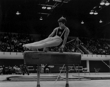 Whelan on the pommel horse—also called side horse—during the 1977 USA Championships. He took second place.