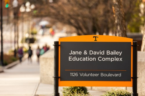Sign for the Bailey Education Building where the Center for Educational Leadership lives