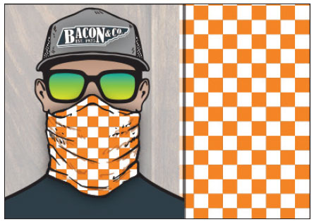 an illustration of a man wearing an orange and white checkerboard gaiter made by Bacon and Company