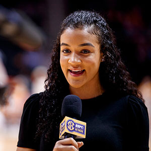 Andraya Carter covers a game between Mississippi State and the Lady Vols for SEC Network/ESPN on Feb. 6, 2020
