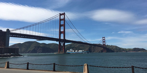 The Golden Gate Bridge nearly empty of traffic due to the pandemic shutdown