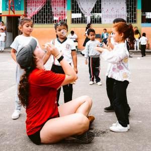 Mary Cayten Brakefield, swimming, in Ecuador with VOLeaders in summer 2018