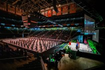 An photo of the full floor layout inside Thompson-Boling Arena