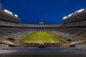Neyland Stadium lights are turned on for the Class of 2020