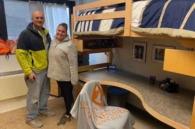 Brandon and Jaclyn Parks move in their son's belongings while he serves with the National Guard in Washington D.C.