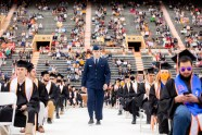 Cadets step forward to be commissioned during commencement.