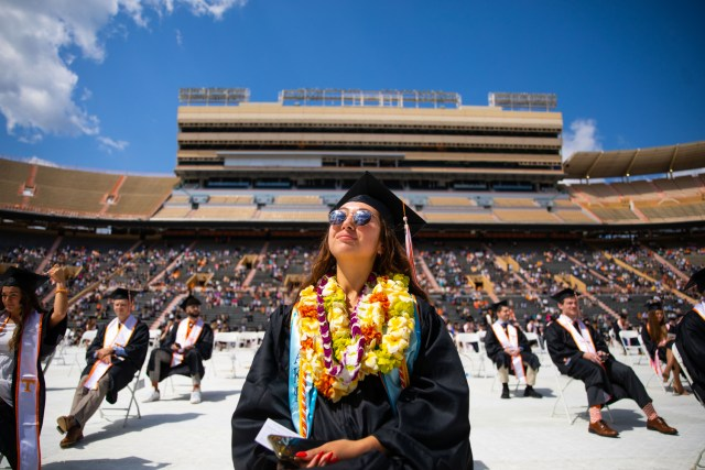 Commencement ceremony in for the Haslam College of Business inside Neyland Stadium