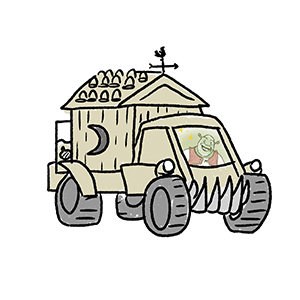 A vehicle DUUNK participants designed for the character Shrek