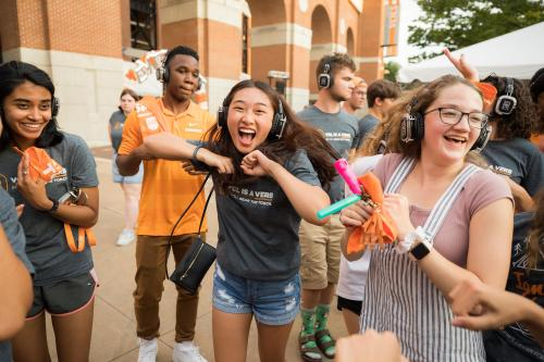 during the Big Orange Block Party with the 2019 freshman class