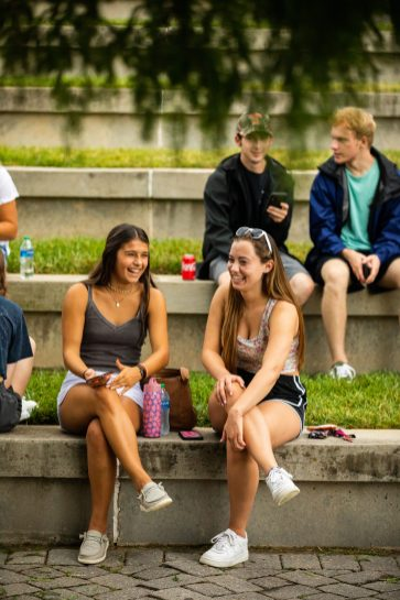 Students visit during the first-year picnic held at the Humanities Plaza on August 15, 2021.