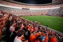 Chancellor Donde Plowman speaks during Torch Night 2021 for incoming first year students inside Neyland Stadium