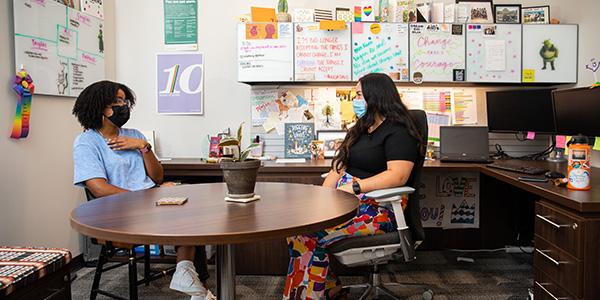 Two women meeting in an office
