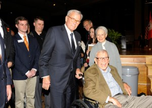 Brokaw poses with Senator Baker, seated, and his wife, Senator Nancy Kassebaum.