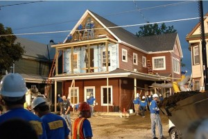 """""""Extreme Makeover: Home Edition"""" house under construction."""