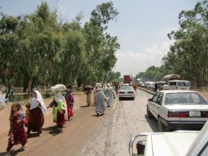 Exodus of people from Tauseef Mutwahir's village in Pakistan | Image courtesy of Tauseef Mutwahir