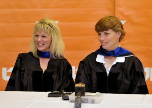 Elisa Luna, left, and Amy Brace, right, talk with reporters at a press conference prior to the graduation ceremony where they received their doctorates in leadership studies in education on May 12, 2011, from the University of Tennessee, Knoxville. Luna, principal at Knoxville's Inskip Elementary School, and Brace, assistant principal of Inskip, were shot by a disgruntled teacher at the school in February 2010.