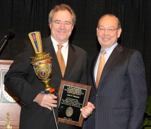 Jan Simek receives the Macebearer Award from Chancellor Jimmy G. Cheek at the 2012 Chancellor's Honors Awards