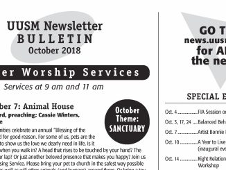 UUSM Newsletter Bulletin Oct 2018