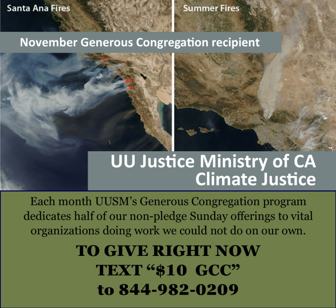 November UUSM Generous Congregation Supports the UU Justice Ministry of California's Work on Climate Justice