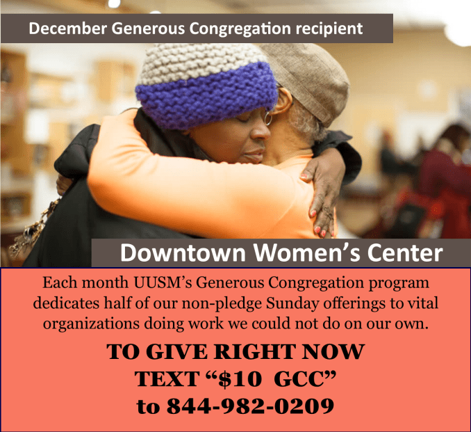 December UUSM Generous Congregation Supports the Downtown Women's Center