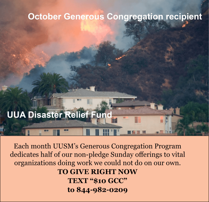 October Generous Congregation supports the UUA Disaster Relief Fund