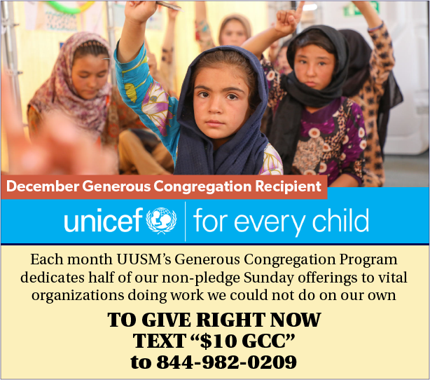 December Generous Congregation supports UNICEF
