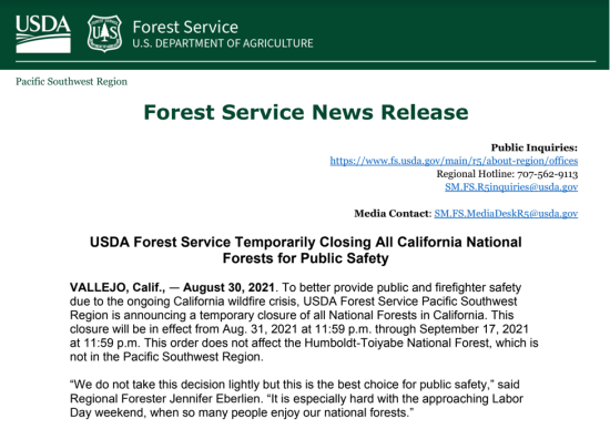US Forest Service News Release