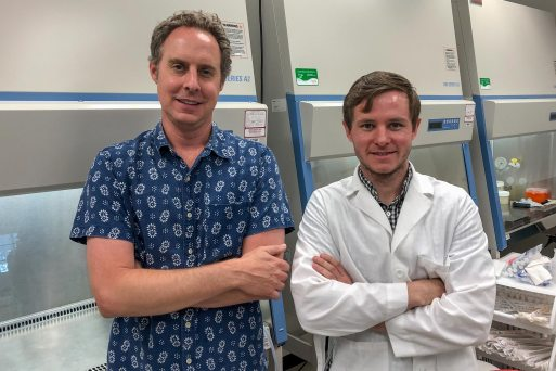 Andrew Dudley, left, and James McCann's research offers a new path for investigating how to starve tumors of their blood supply.