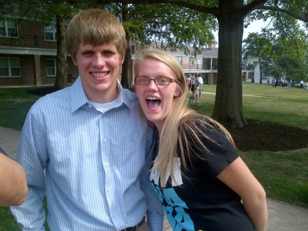 Meleigha Caudel with her cousin Nathan on his Move-In Day. This year, it was her turn to move into the Quad.