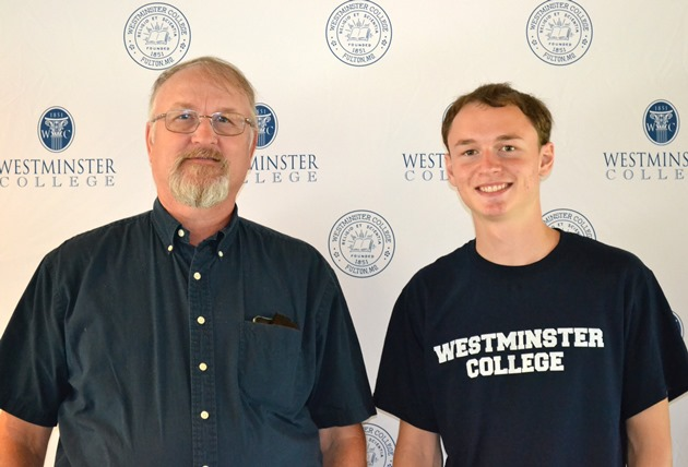 Westminster alum Ted Wilson poses on Move-In Day with his son Nathan, Class of 2018.