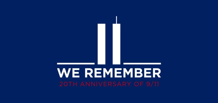 Dark blue background and graphic image of Twin Towers in white