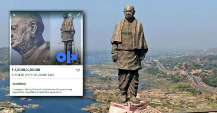 Statue of Unity put up for sale on OLX, FIR lodged