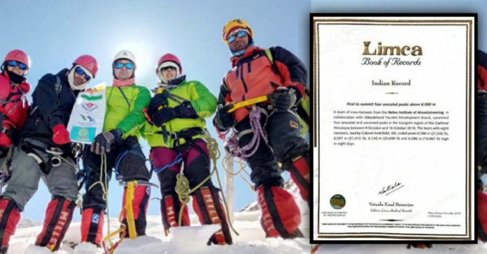 Nehru Institute of Mountaineering in Limca book of india Records